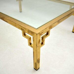 Retro Large Brass Coffee Table Vintage 1960's