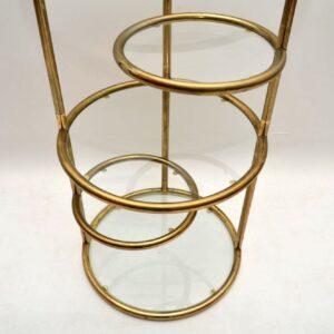 Retro Italian Brass Shelving Stand Vintage 1970's
