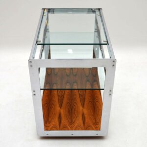 Rosewood & Chrome Drinks Trolley by Merrow Associates Vintage 1960's