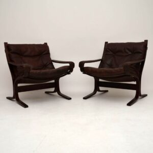 Pair of Retro Leather Siesta Armchairs by Ingmar Relling Vintage 1970's