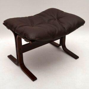Retro Leather Siesta Armchair & Stool by Ingmar Relling Vintage 1970's