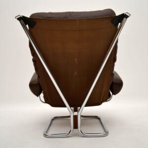 Retro Leather & Chrome Armchair & Stool by Ingmar Relling Vintage 1970's