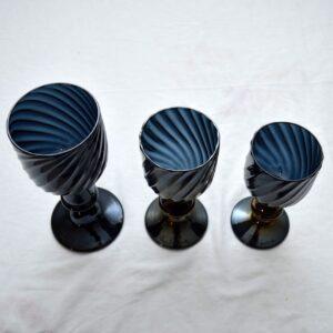 Set Of 3 Italian Murano Wine Glasses By Pino Signoretto Vintage 1960'S