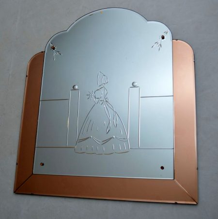Art Deco Etched Glass Over Mantle Mirror Vintage 1920'S