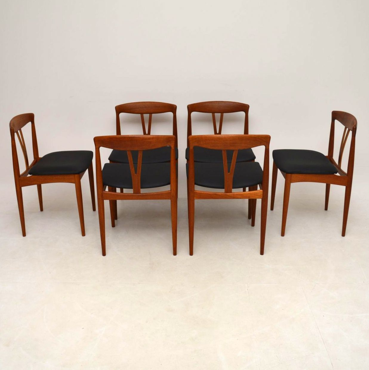 Set Of 6 Danish Teak Retro Dining Chairs Vintage 1960 S
