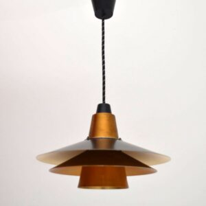 Danish Teak Retro Pendant Ceiling Lamp Vintage 1960's