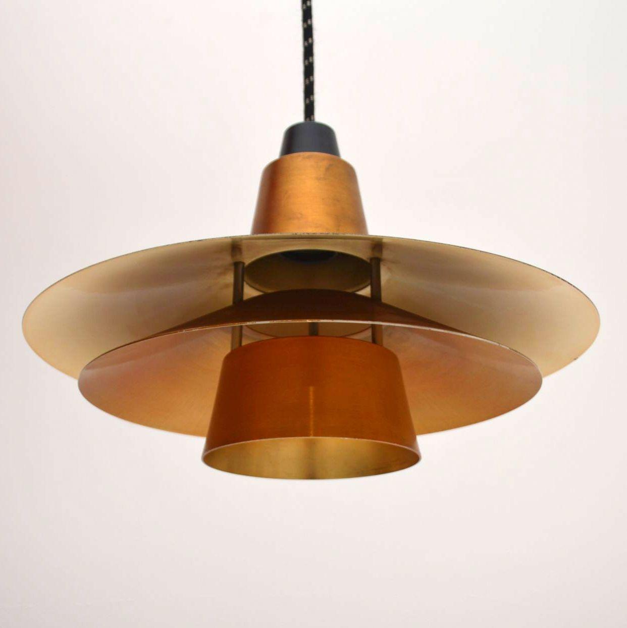 Danish Teak Retro Pendant Ceiling Lamp Vintage 1960 S