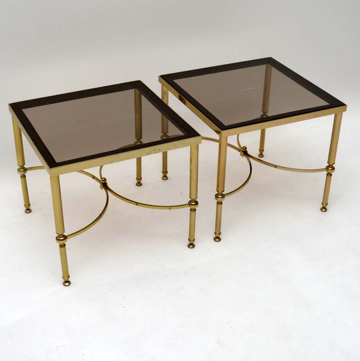... Pair Of Retro French Brass Side Tables Vintage 1950u0027s ...