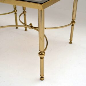 Pair of Retro French Brass Side Tables Vintage 1950's