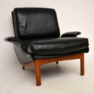 Danish Leather & Teak 'Eve' Armchair By IB Kofod Larsen For Mogens Kold Vintage 1958