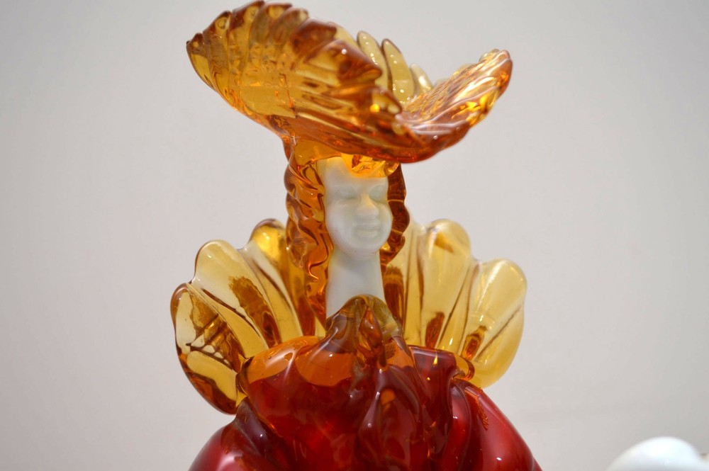 Pair Of Italian Murano Glass Courtesan Figurines By Franco