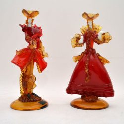 Pair Of Italian Murano Glass Courtesan Figurines By Franco Toffolo Vintage 1960'S