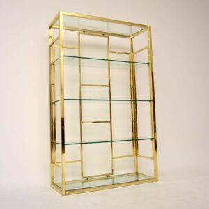 Retro Italian Brass Bookcase / Cabinet Vintage 1970'S