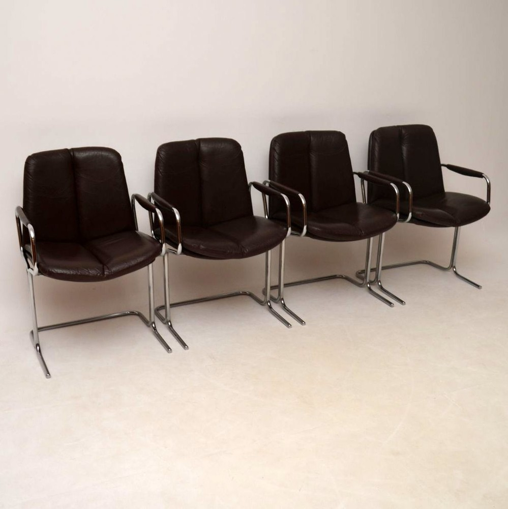 Set Of 4 Retro Leather & Chrome Dining Chairs By Pieff Vintage 1970's