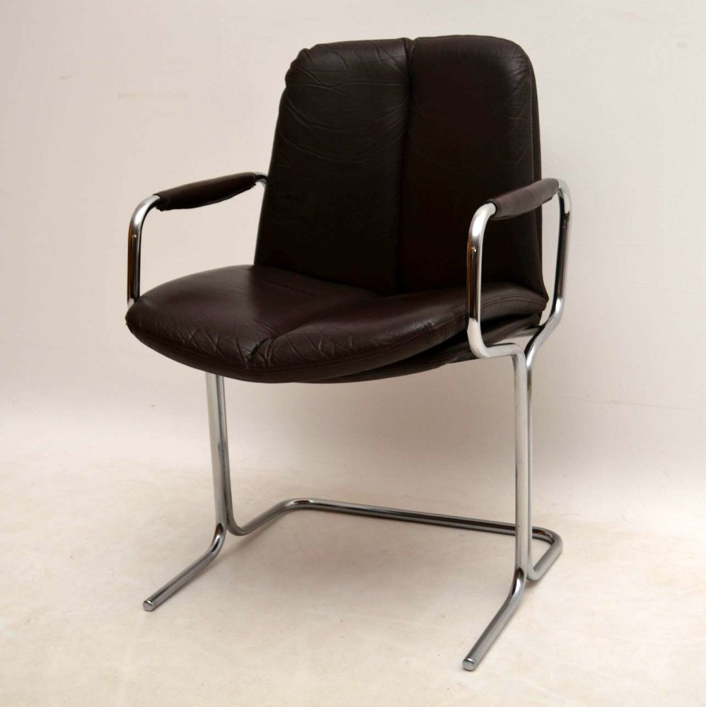 set of 4 retro leather chrome dining chairs by pieff vintage