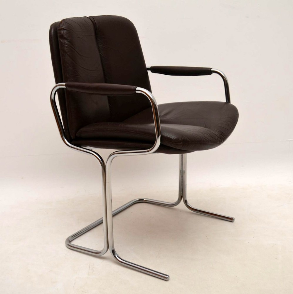 Set Of 4 Retro Leather Chrome Dining Chairs By Pieff