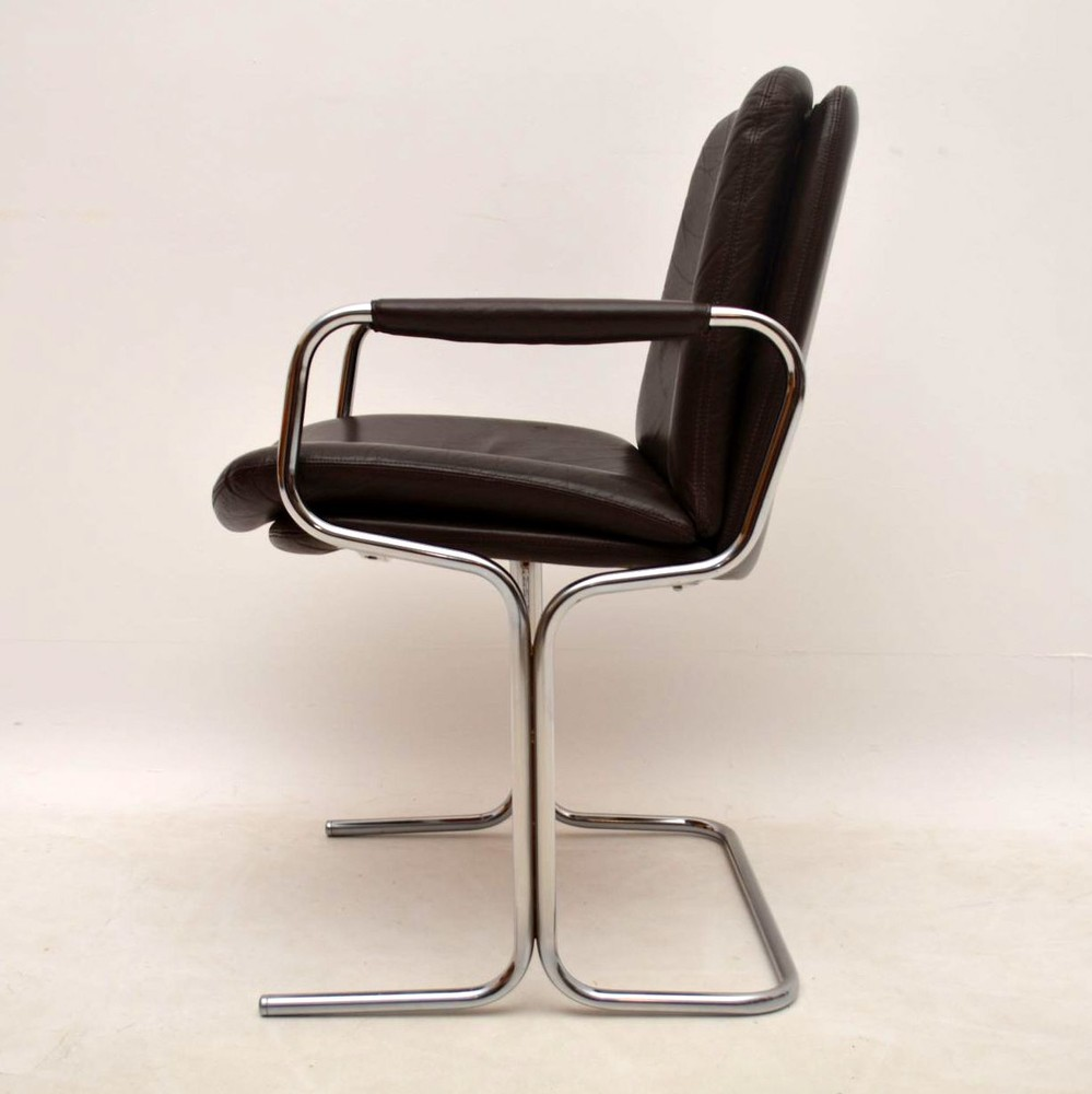 Set Of 4 Retro Leather Amp Chrome Dining Chairs By Pieff