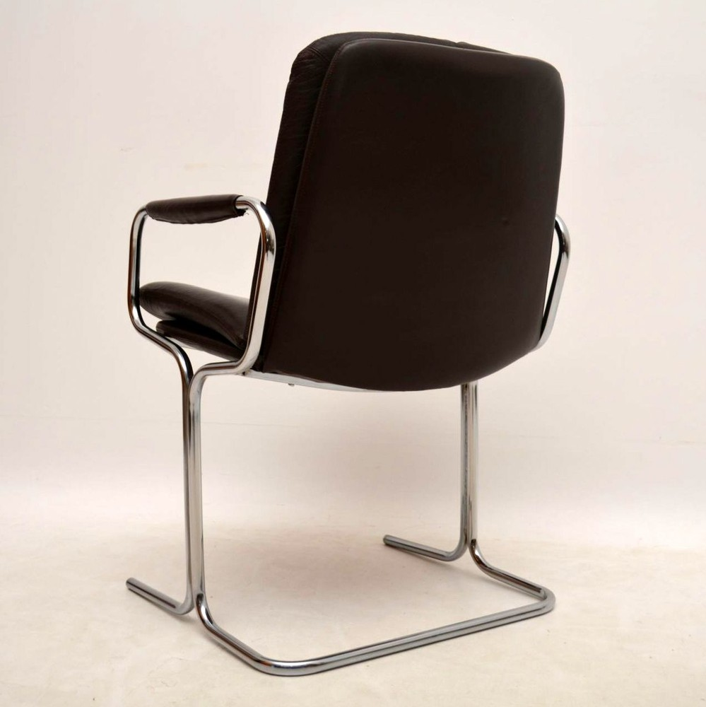Set Of 4 Retro Leather & Chrome Dining Chairs By Pieff ...