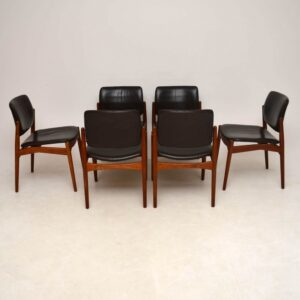 Set Of 6 Danish Teak And Leather Dining Chairs By Erik Buch Vintage 1960's
