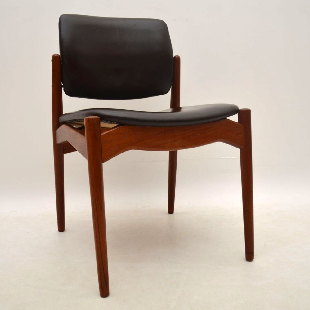 Set Of 6 Danish Teak And Leather Dining Chairs By Erik Buch