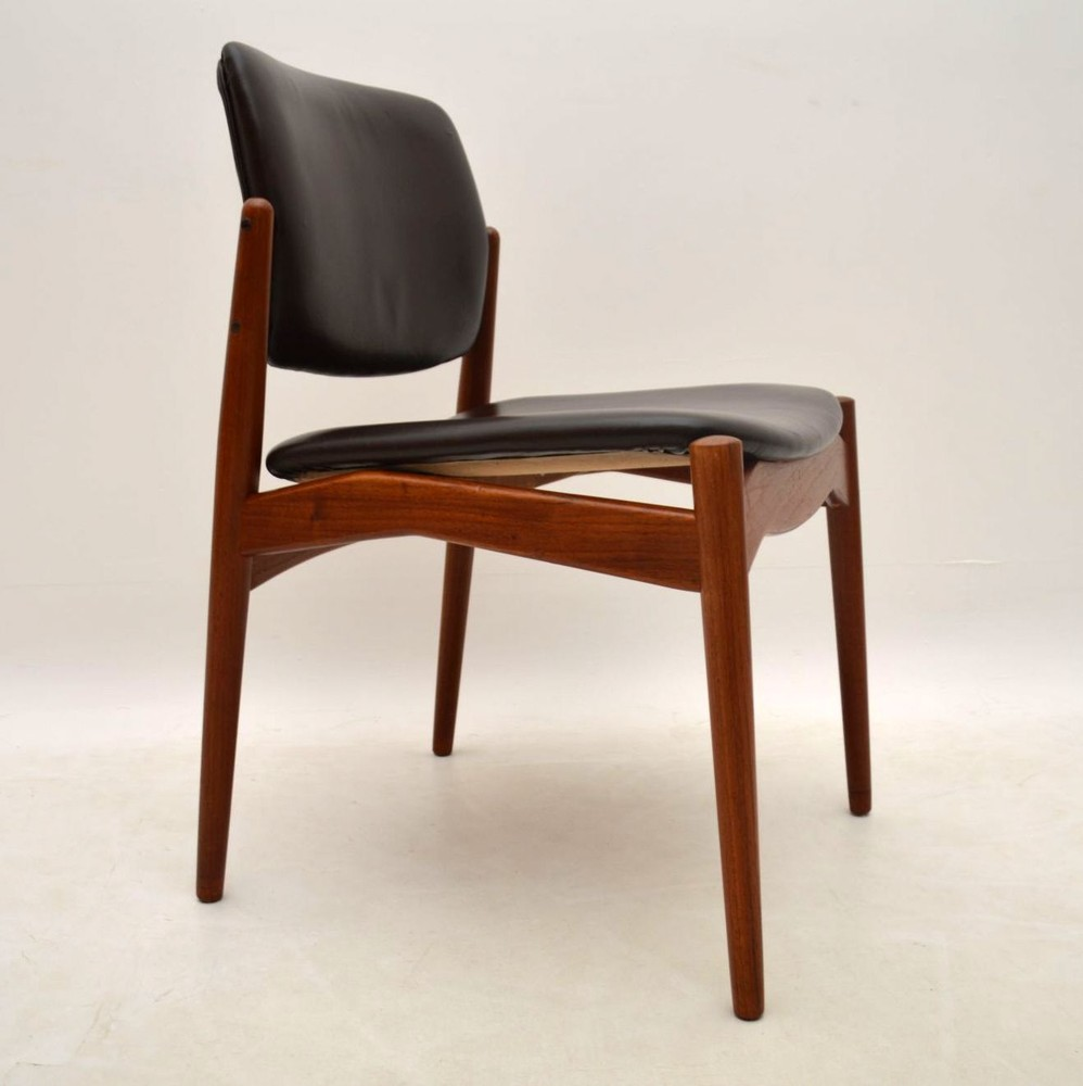 Set Of 6 Danish Teak And Leather Dining Chairs By Erik
