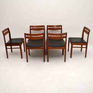 Set of 6 Danish Teak Dining Chairs Vintage 1960's