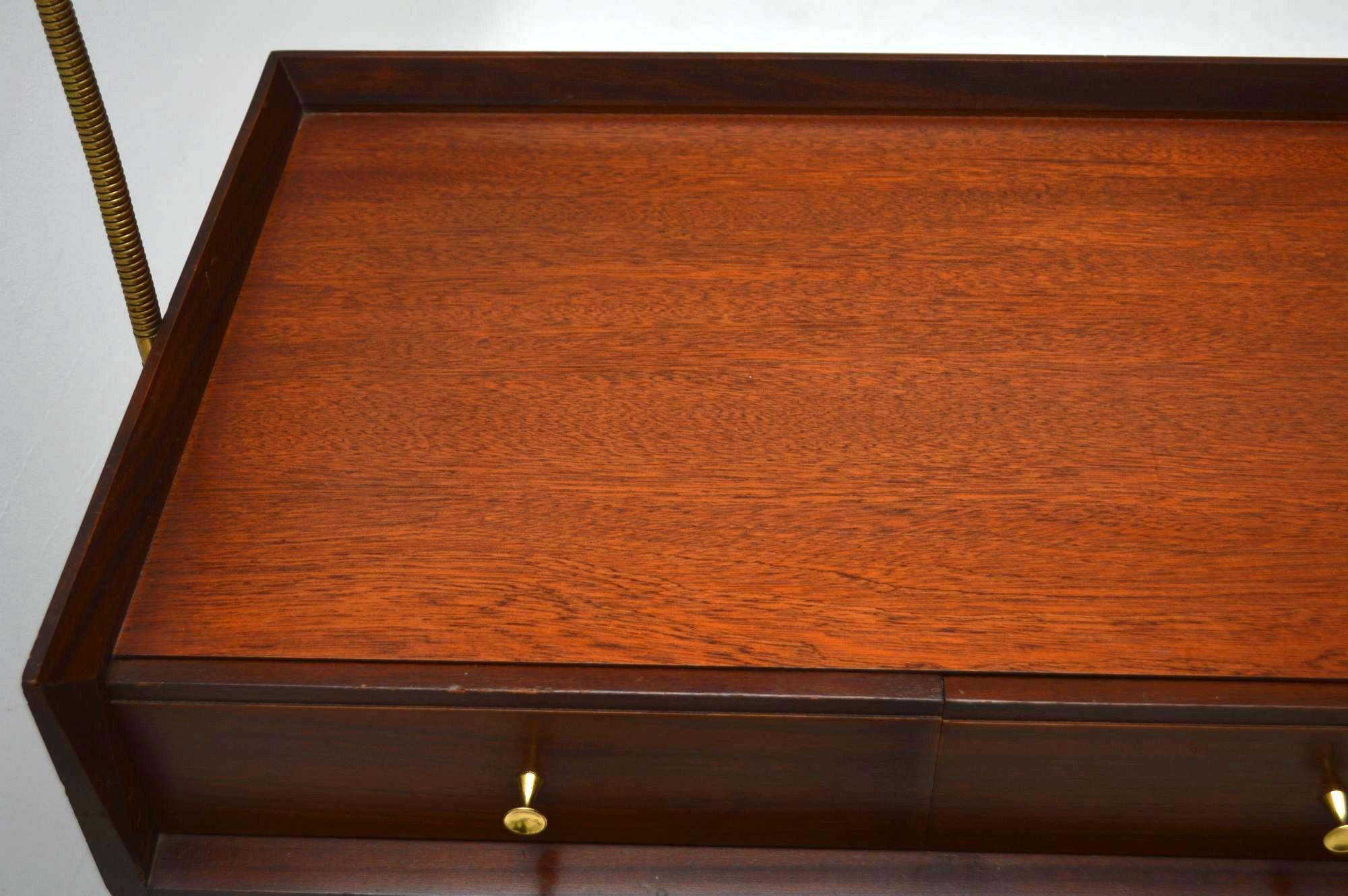 Retro Mahogany Desk Dressing Table With Lamp Vintage