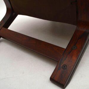 Danish Retro Rosewood & Leather Armchair & Stool Vintage 1970's