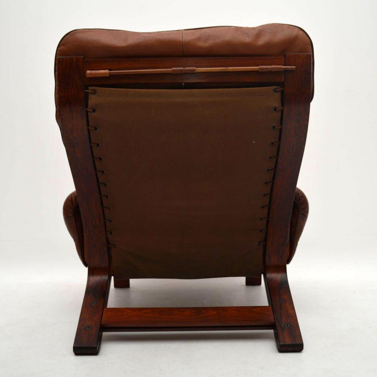 Danish Retro Rosewood Amp Leather Armchair Amp Stool Vintage