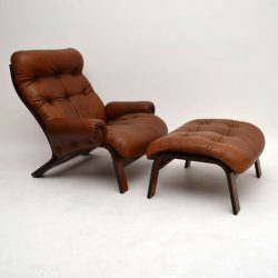 Danish Retro Rosewood & Leather Armchair & Stool Vintage 1970's