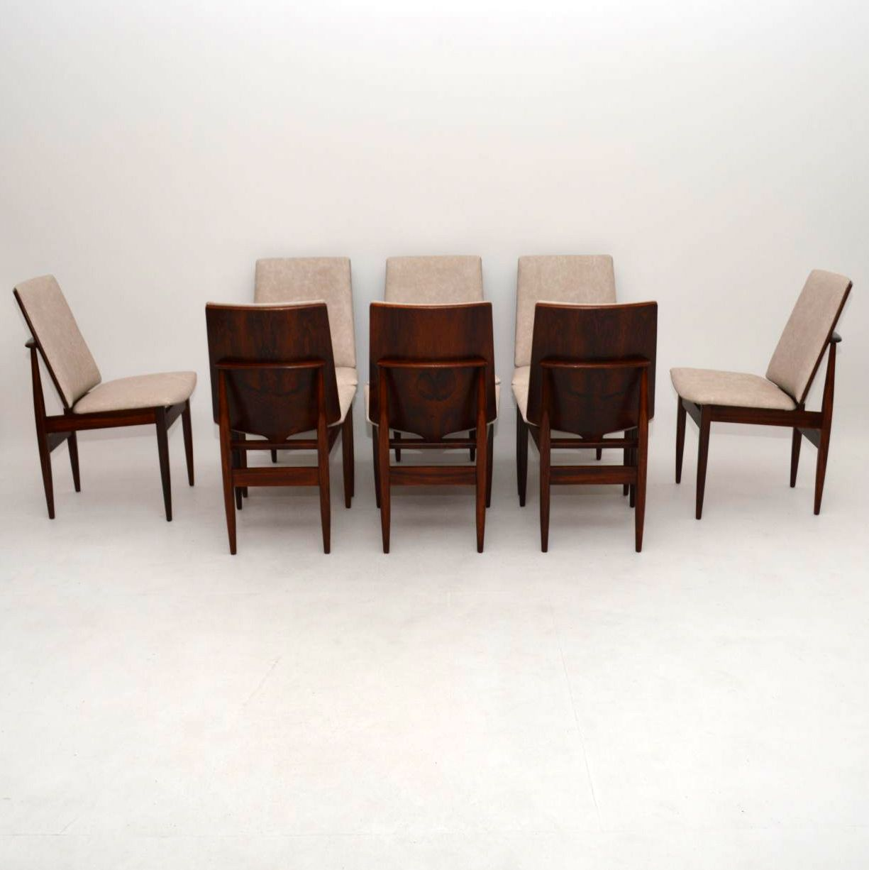 Set of 8 Retro Rosewood & Leather Dining Chairs Vintage 1960's
