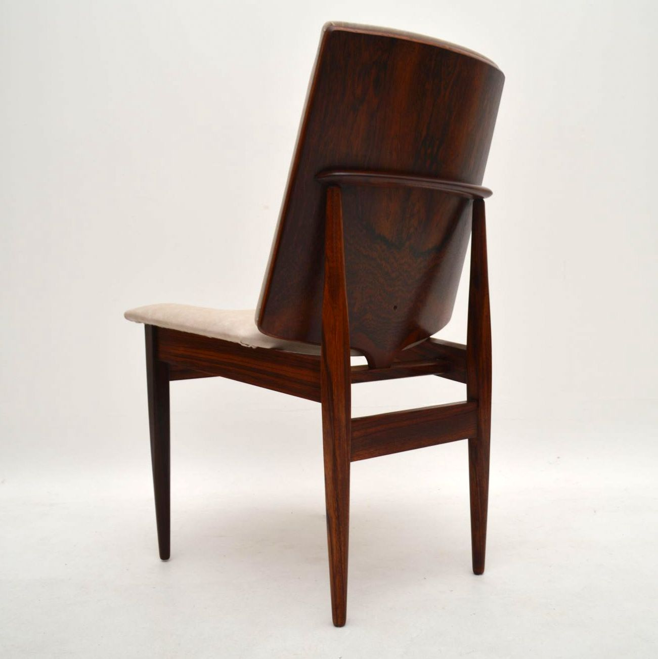 Set Of 8 Retro Rosewood Amp Leather Dining Chairs Vintage
