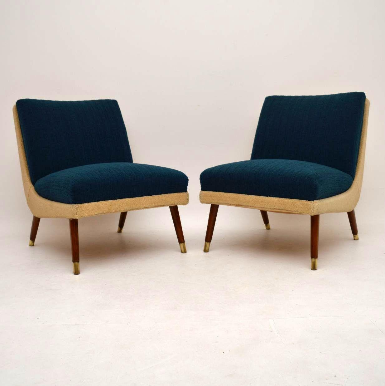 Pair Of Retro Danish Easy Chairs Vintage 1950 S