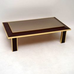 Retro Brass & Snakeskin Coffee Table Vintage 1970's