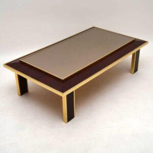 Retro Brass & Snakeskin Coffee Table Vintage 1970's