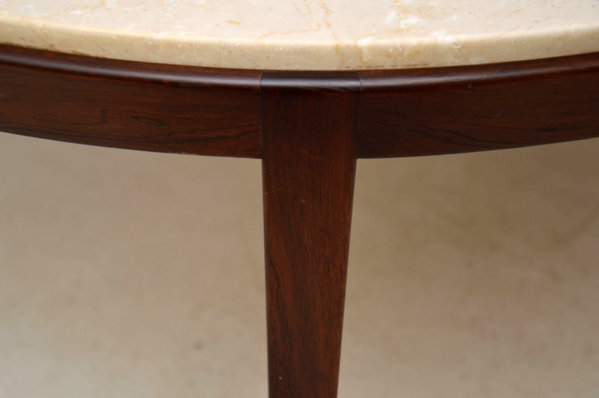 Danish Retro Rosewood Amp Marble Coffee Table Vintage 1960 S