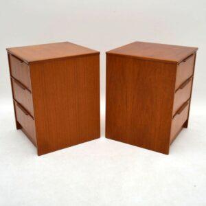 Pair of Danish Teak Bedside Chests Vintage 1970's