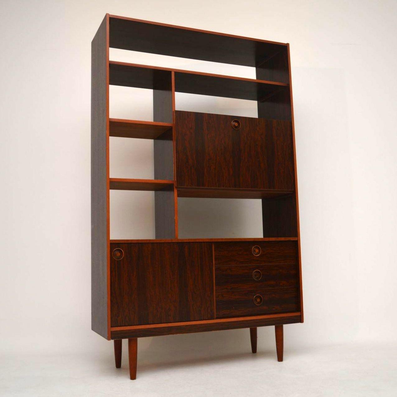 Retro Rosewood Effect Room Divider Bookcase Vintage 1960