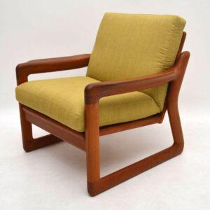Pair of Danish Retro Solid Teak Armchairs Vintage 1970's