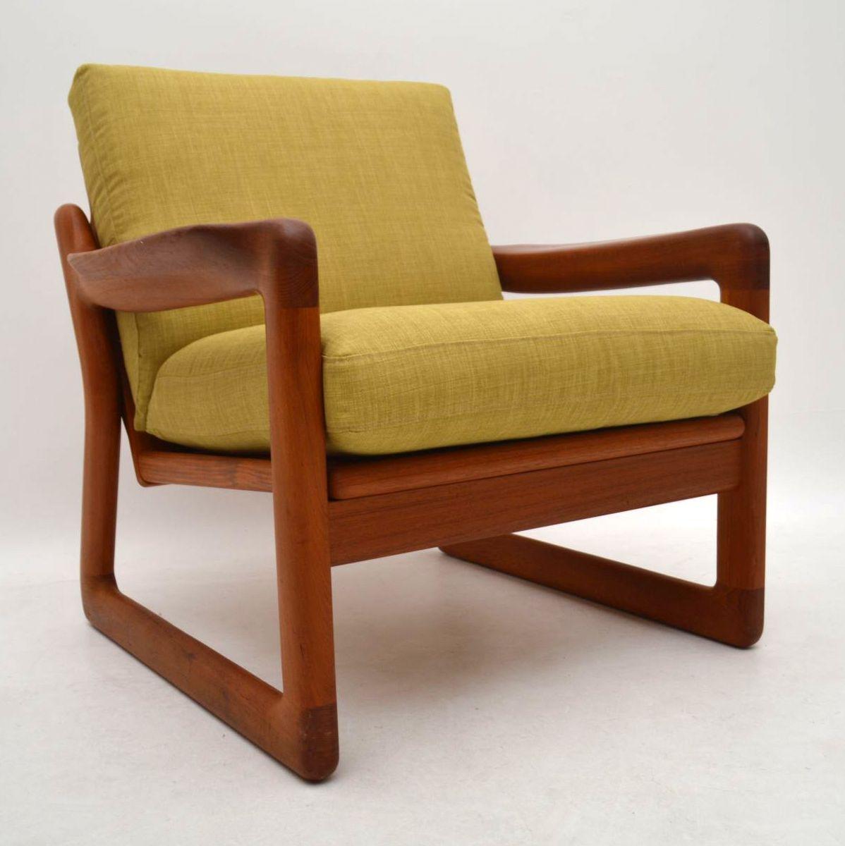 Pair Of Danish Retro Solid Teak Armchairs Vintage 1970 S