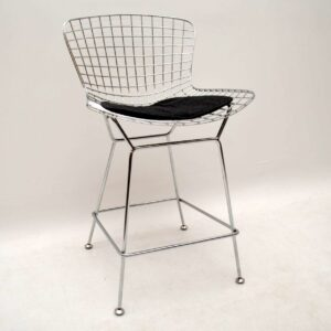 Pair of Retro Wire Bar Stools by Harry Bertoia Vintage 1960's