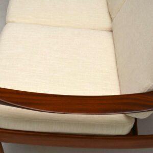Danish Retro Walnut Four Seat Sofa Vintage 1960's