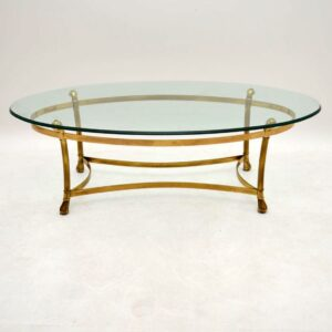 Retro French Brass & Glass Coffee Table Vintage 1970's