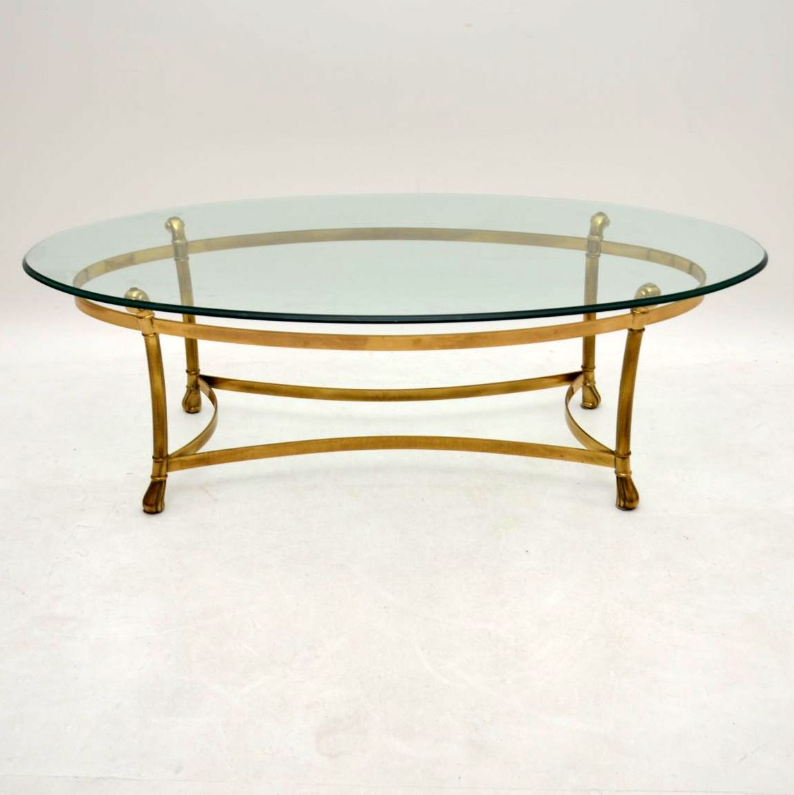 Retro french brass glass coffee table vintage 1970 s for French glass coffee table
