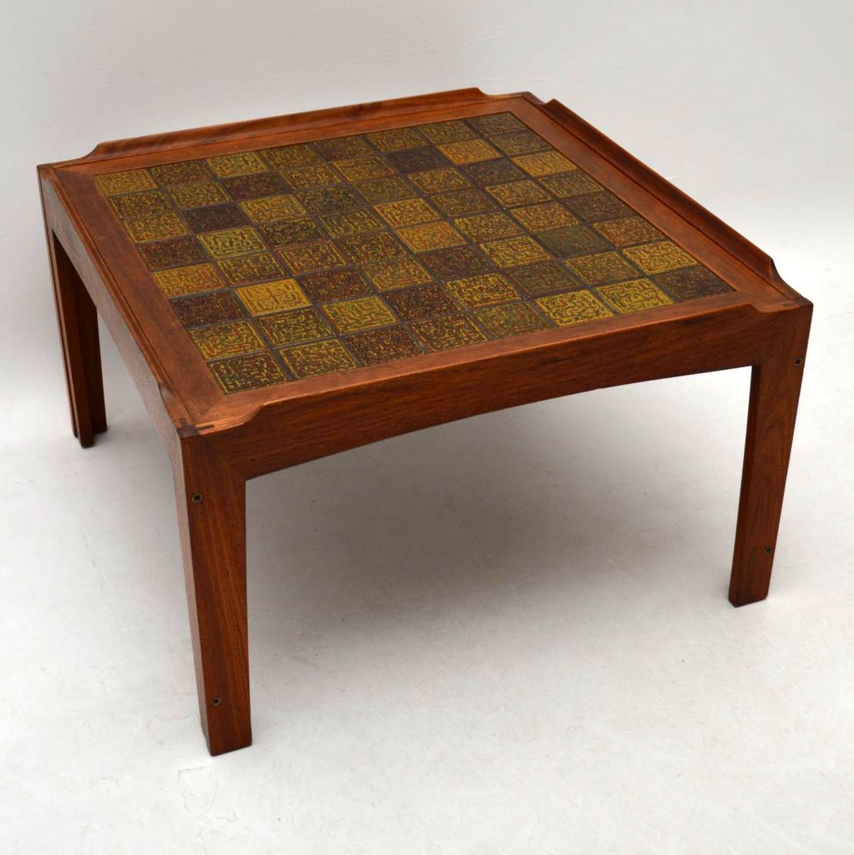 Danish Teak Tiled Top Retro Coffee Table Vintage 1960 S