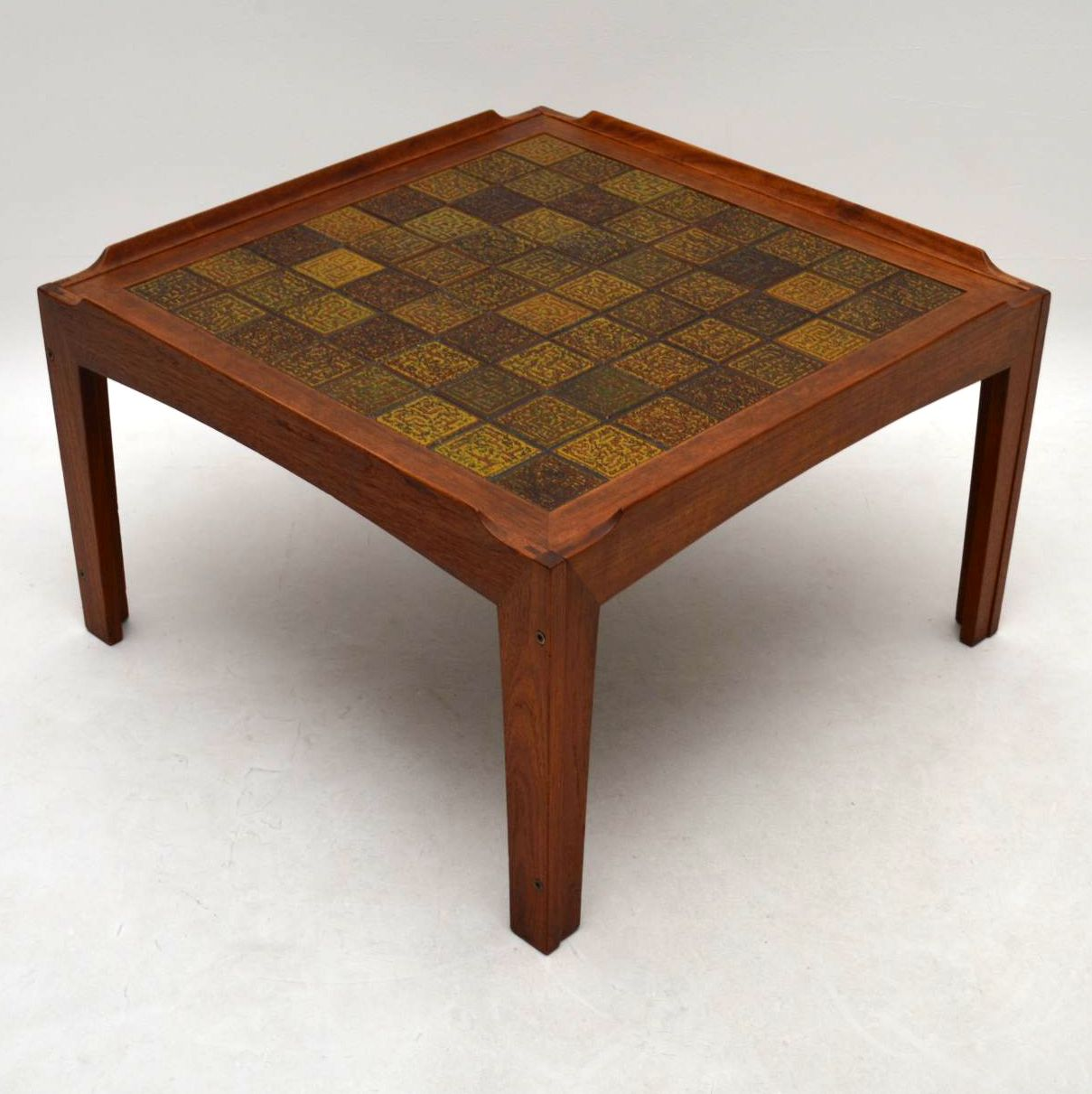 Danish Teak Tiled Top Retro Coffee Table Vintage 1960 S