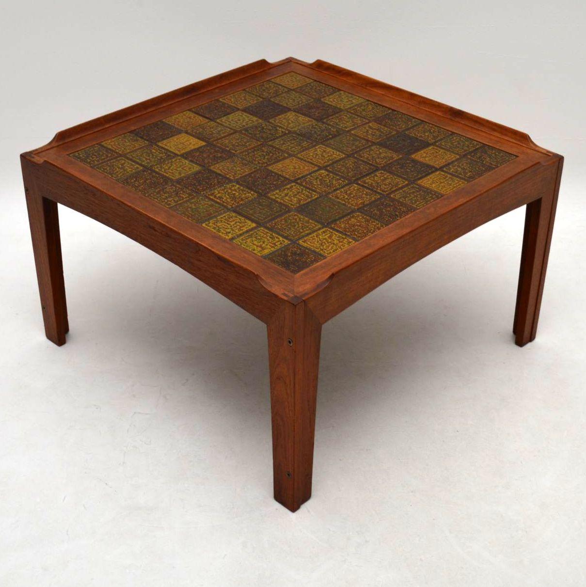 Danish Teak Tiled Top Retro Coffee Table Vintage 1960's