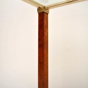 Retro French Walnut & Glass Console Table Vintage 1970's