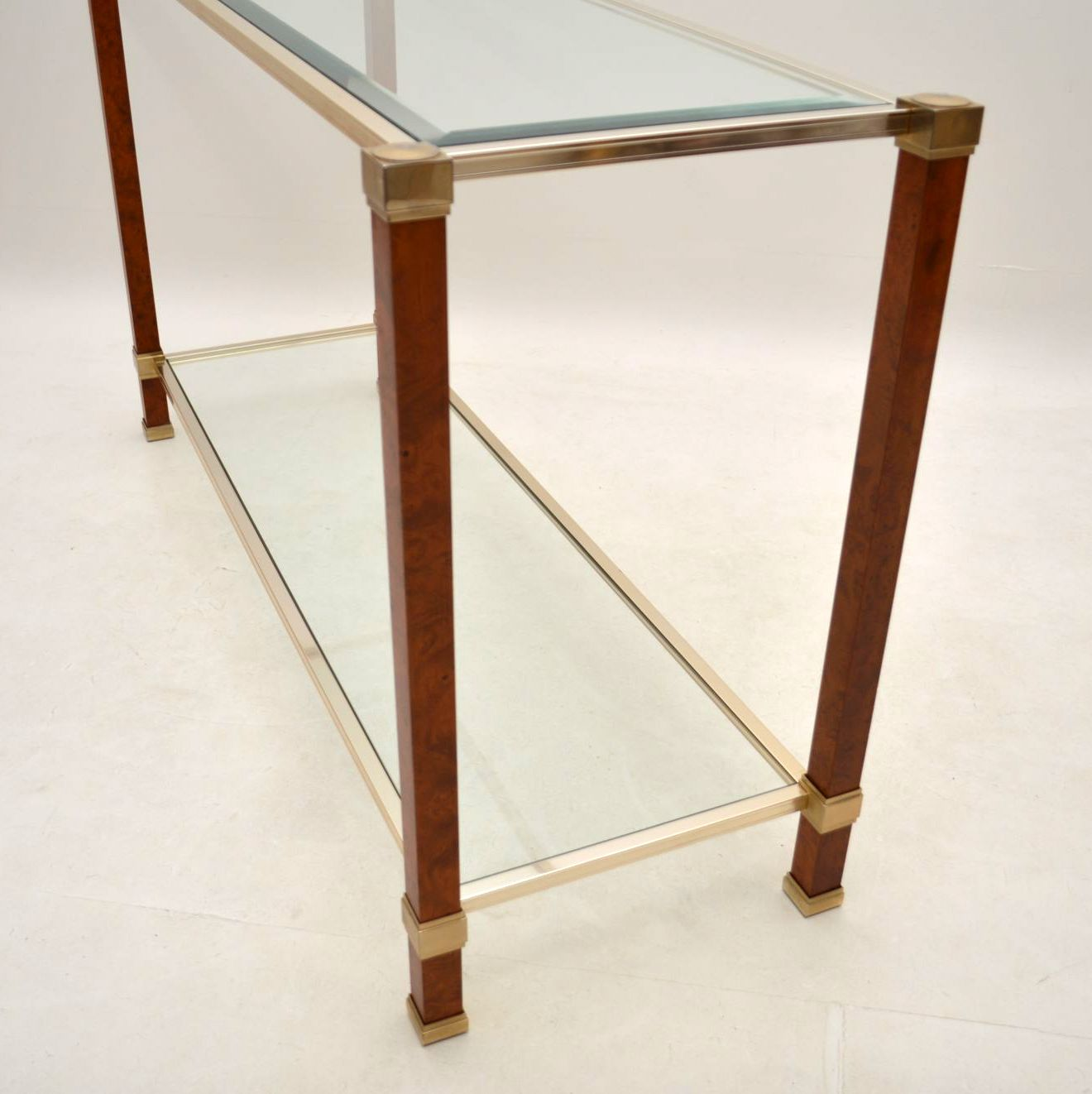 Retro French Walnut Amp Glass Console Table Vintage 1970 S