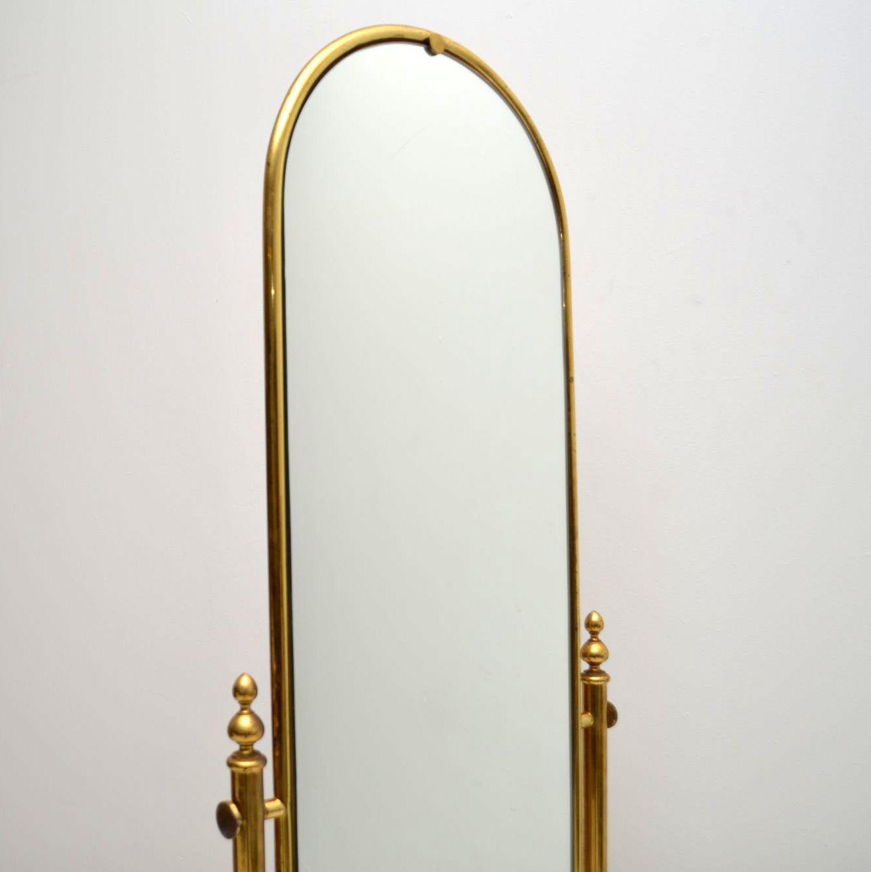 1950 S Vintage Italian Brass Cheval Mirror